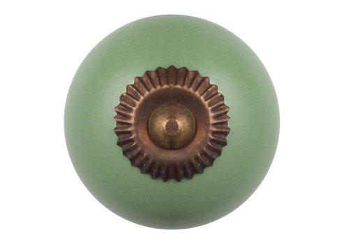Meubelknop groen - brons