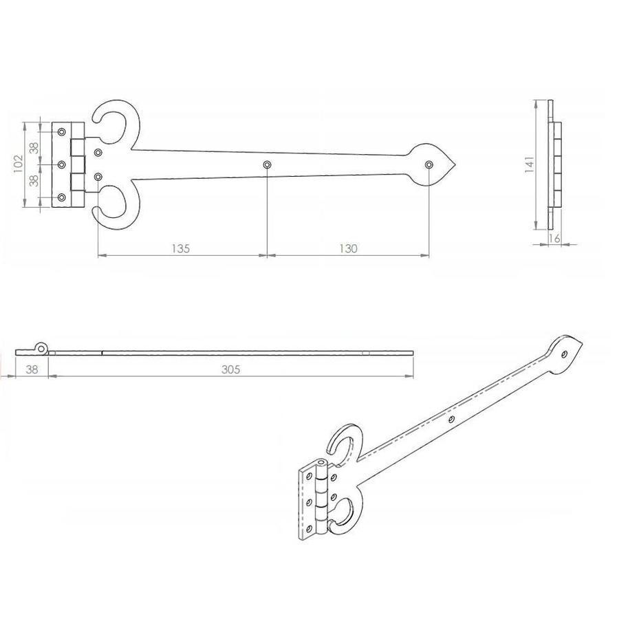 Gietijzeren scharnier zwaard - 343mm