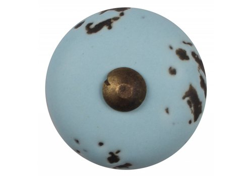 Meubelknop lichtblauw - brons