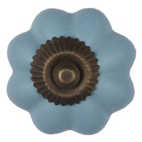 Porseleinen meubelknop bloem blauw - brons