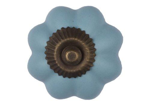 Meubelknop bloem blauw - brons