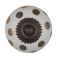 Porseleinen meubelknop wit goud gestippeld - brons.