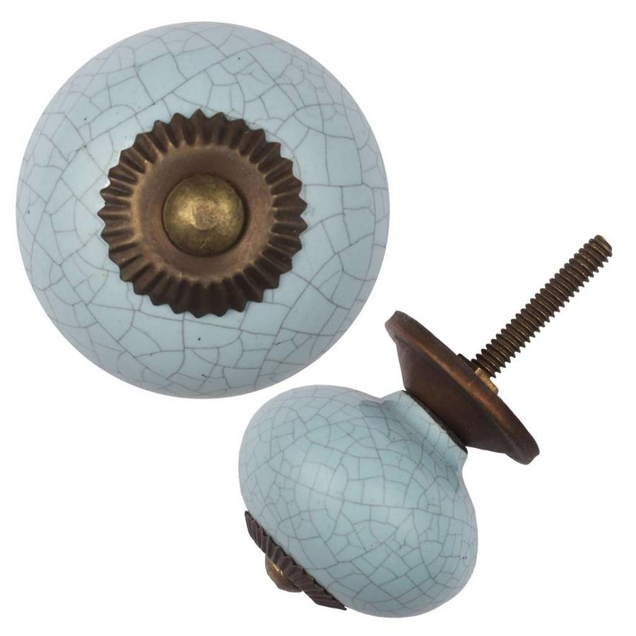 Porseleinen meubelknop lichtblauw gekrakeleerd - fijn