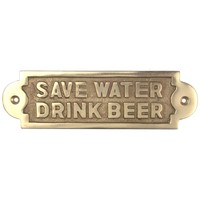 "Tekstbordje ""Save Water Drink Beer"" messing"