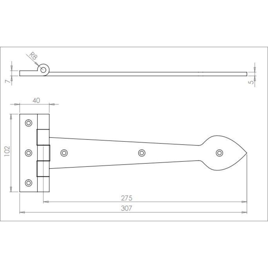 Gietijzeren scharnier Speer 275 mm