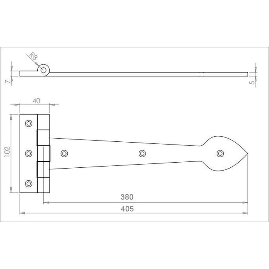 Gietijzeren scharnier Speer 380 mm