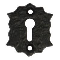 Gietijzeren sleutelrozet zwart gelakt Bloem