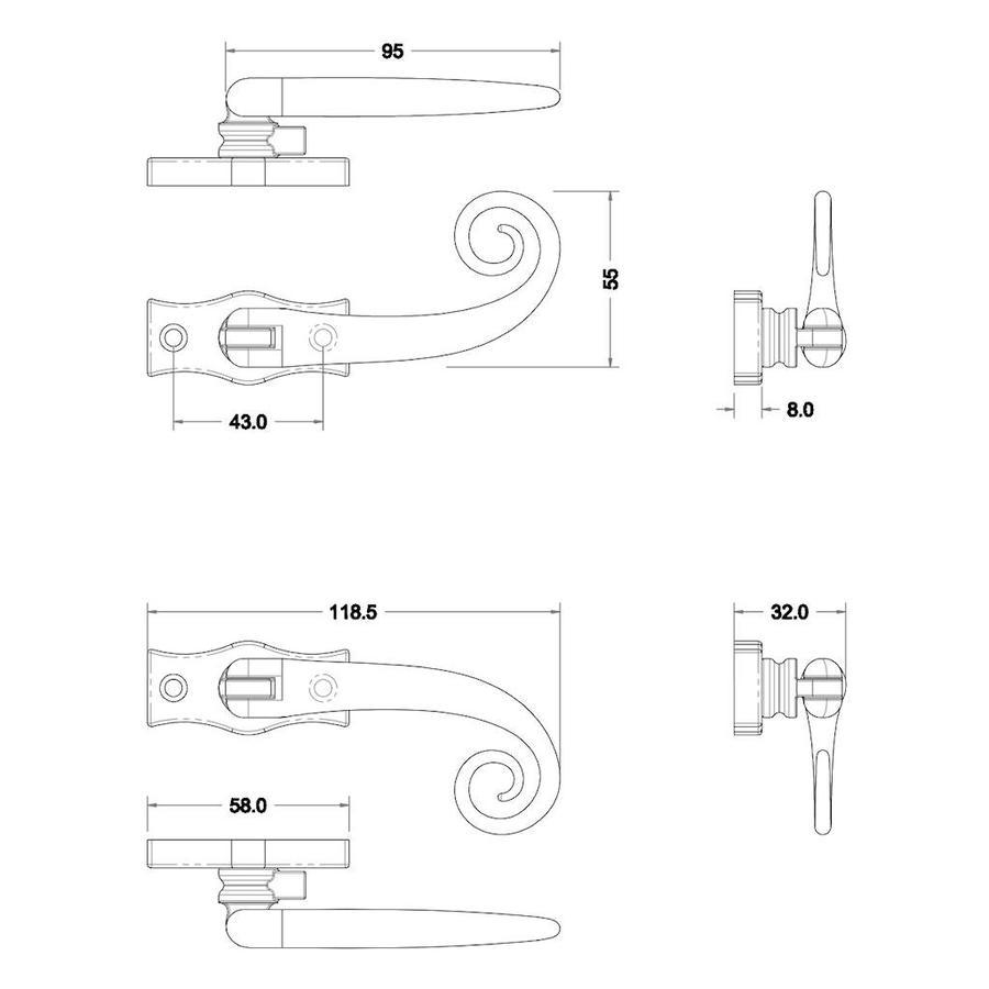 Gietijzeren raamkruk voor draai- en kiepramen