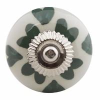 Porseleinen meubelknop wit groen hartjes