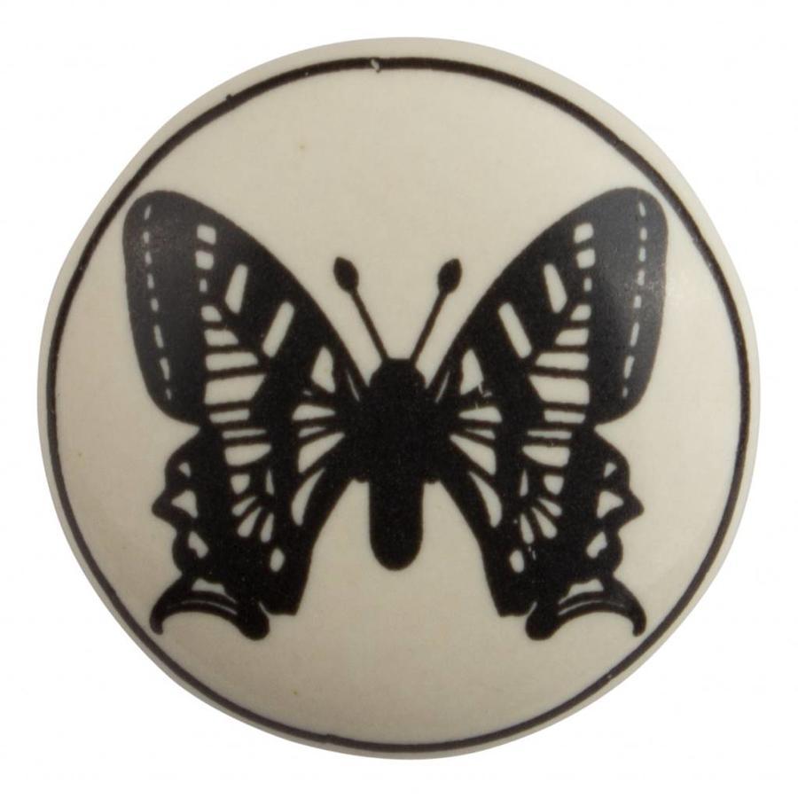 Porseleinen meubelknop vlinder