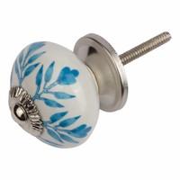 Porseleinen meubelknop wit blauw blaadjes