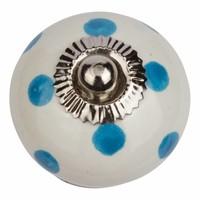 Porseleinen meubelknop wit blauw gestippeld - donker