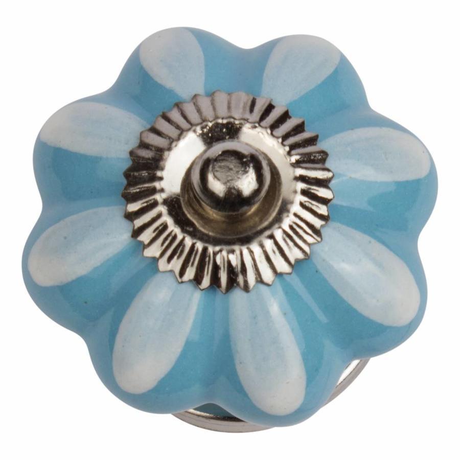 Porseleinen meubelknop blauw wit bloem