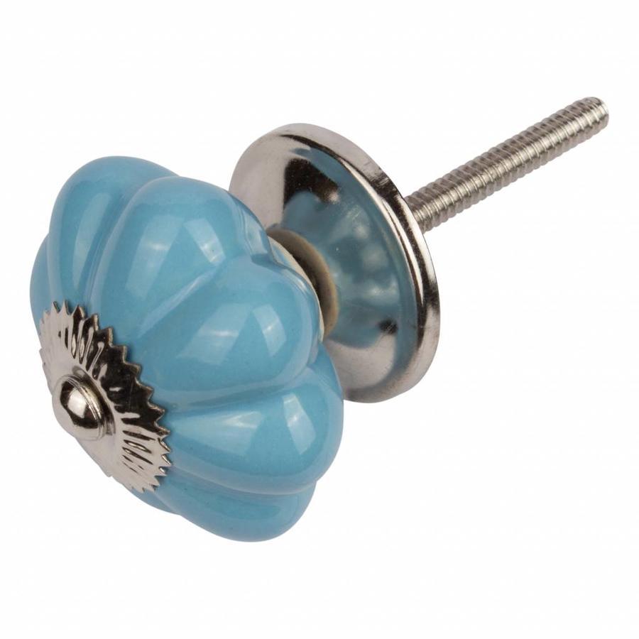 Porseleinen meubelknop bloem blauw