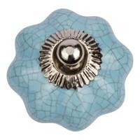 Porseleinen meubelknop turquoise bloem gekrakeleerd