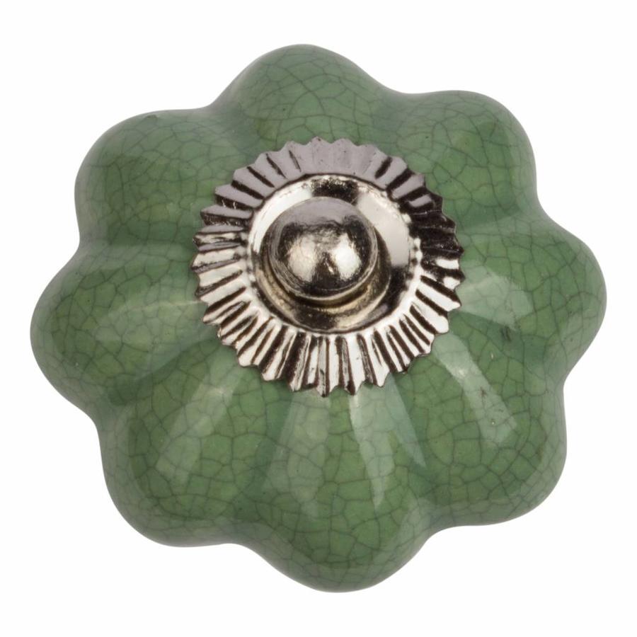Porseleinen meubelknop groen bloem gekrakeleerd