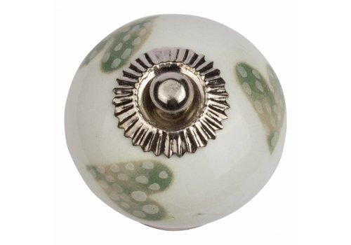 Meubelknop wit groen gestippelde hartjes - licht