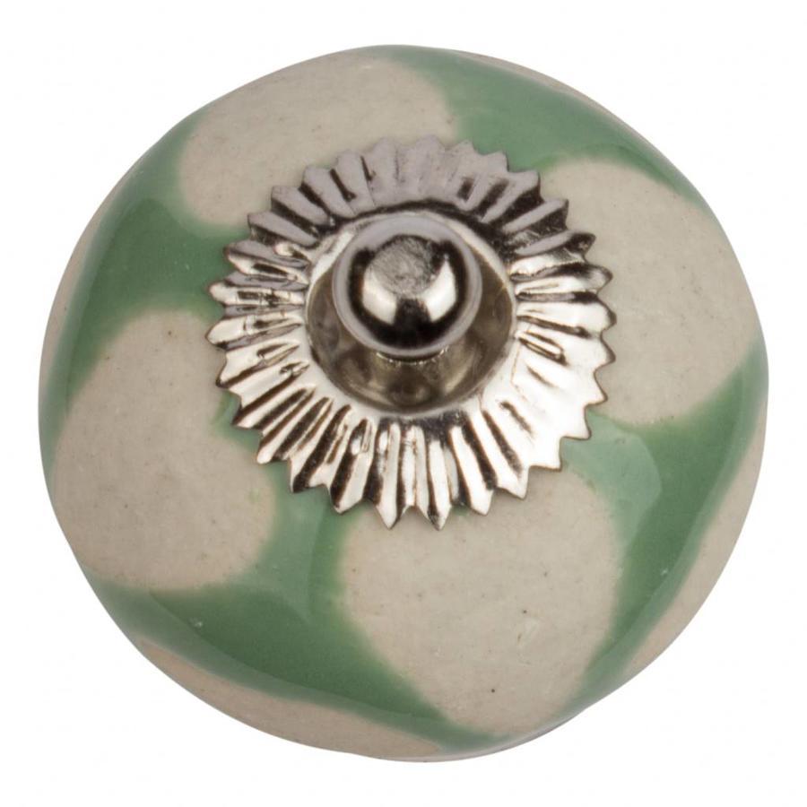 Porseleinen meubelknop groen beige hartjes