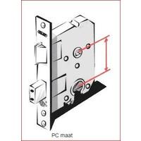Gietijzeren deurkruk op schild - cilinderslot - pc-maat 72
