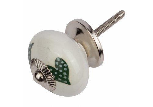 Meubelknop wit groen gestippelde hartjes - donker