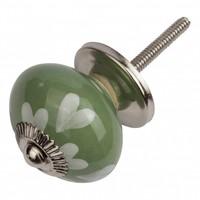 Porseleinen meubelknop groen wit hartjes