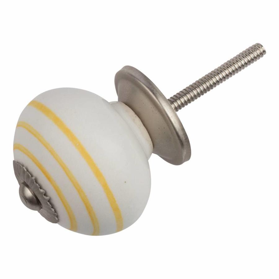 Porseleinen meubelknop wit met gele strepen