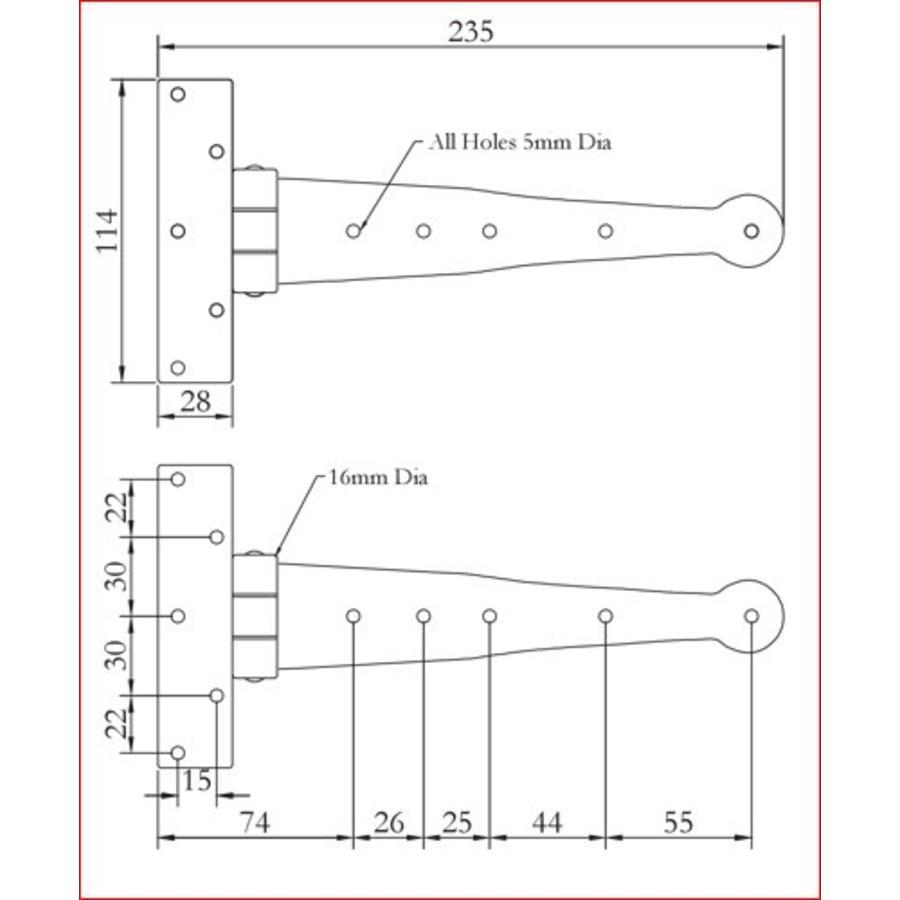 Smeedijzeren scharnier rond 233mm - Pewter