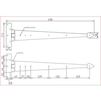 Smeedijzeren scharnier punt 605mm - Pewter
