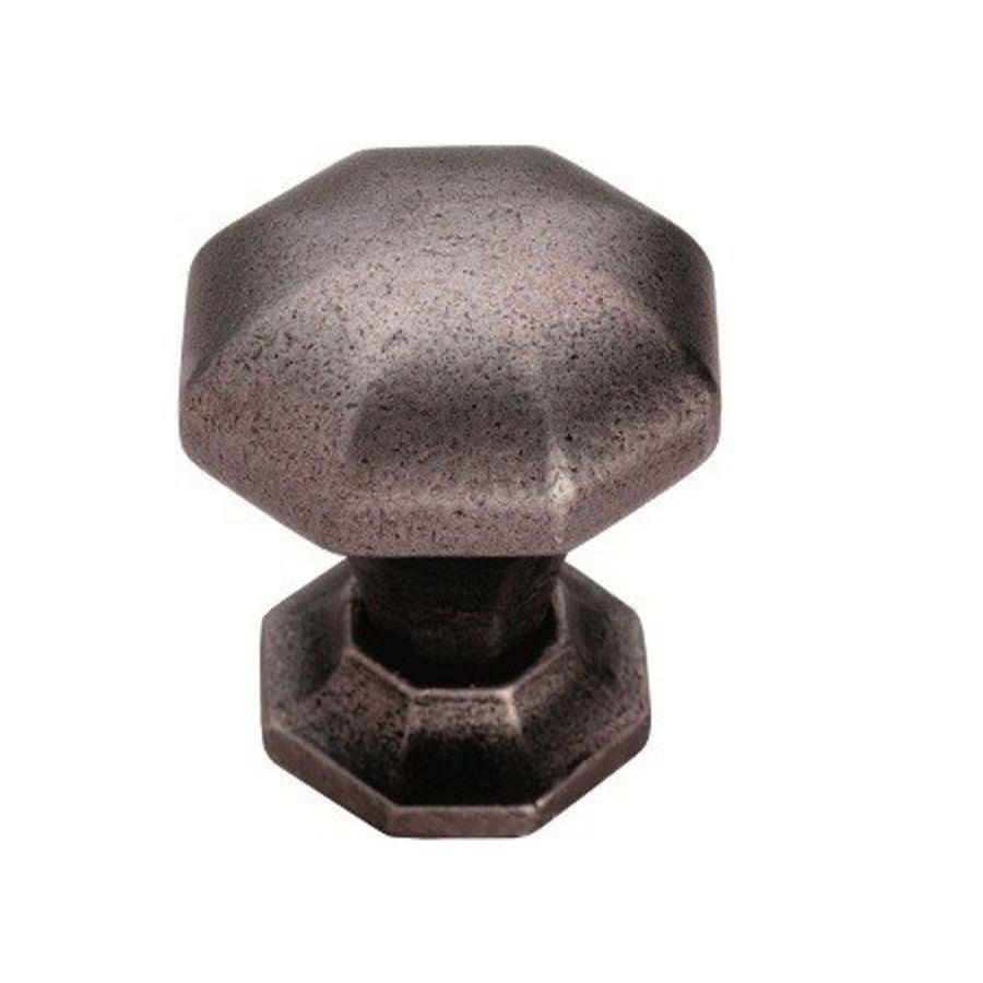 Gietijzeren kastdeurknop 38mm achthoek-pewter effect  - Copy