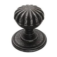 Gietijzeren kastdeurknop 32mm - bloem Pewter