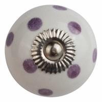 Porseleinen meubelknop wit met paarse stippels