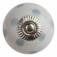 Porseleinen meubelknop wit met grijze stippels