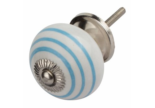 Meubelknop wit met blauwe strepen