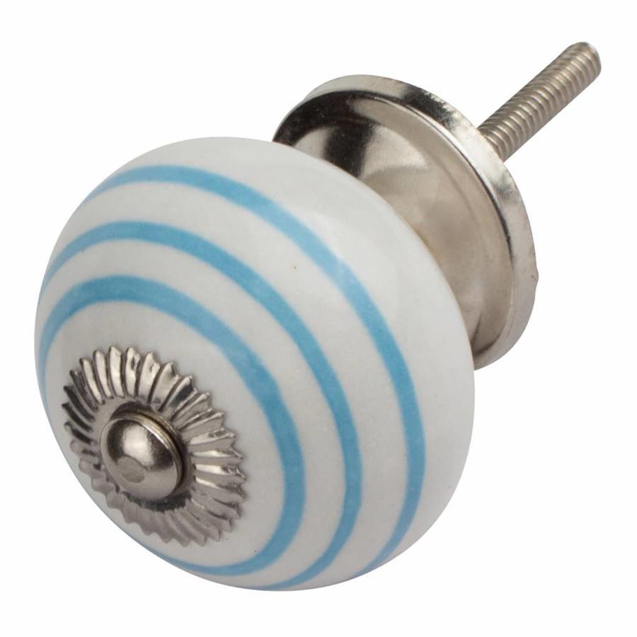 Porseleinen meubelknop wit met blauwe strepen
