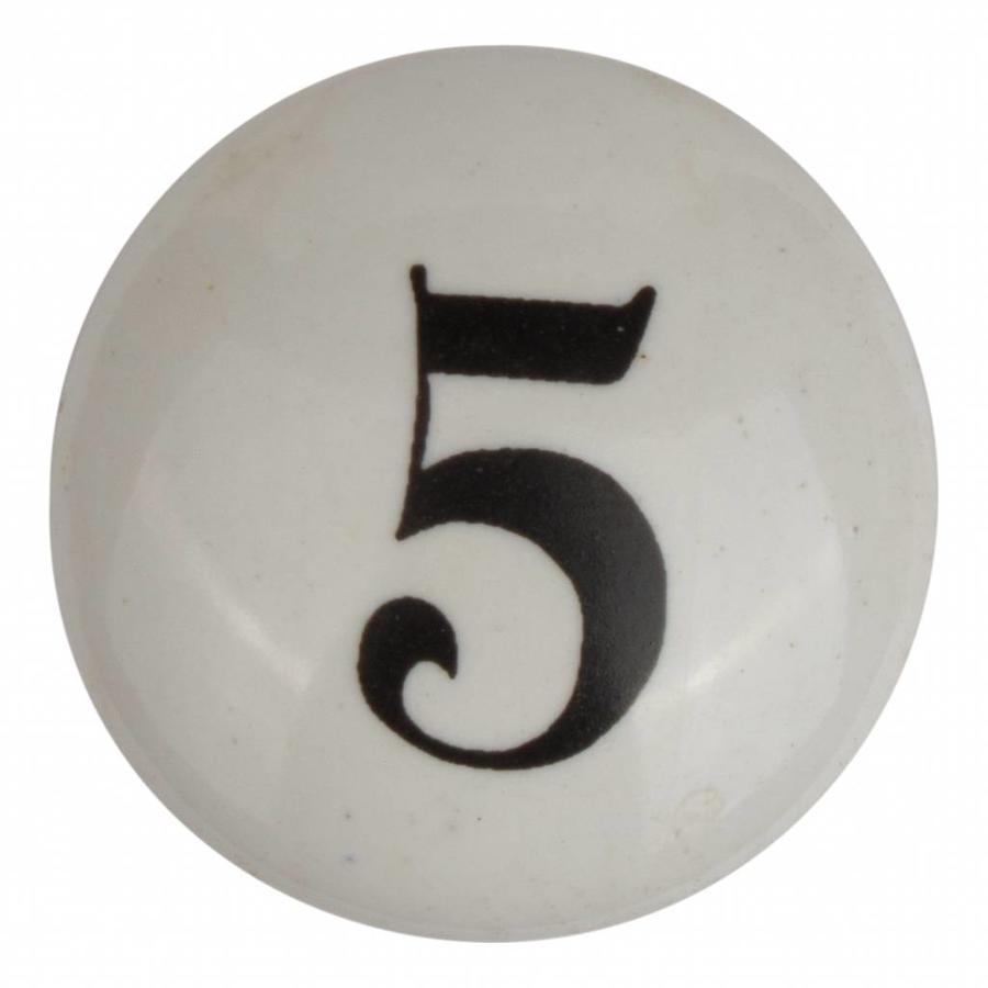 Porseleinen meubelknop nummer 5