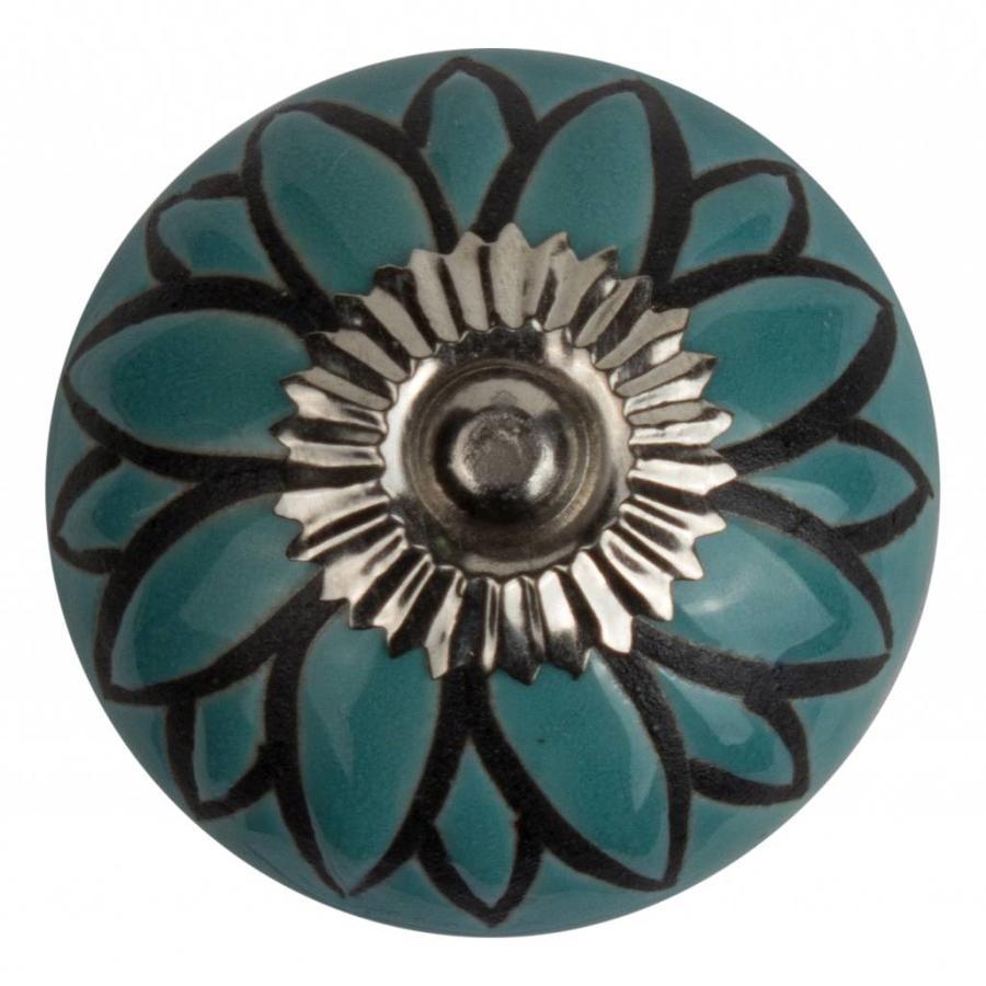 Meubelknop porselein reliëf deco CK5545 bloem blauw zwart