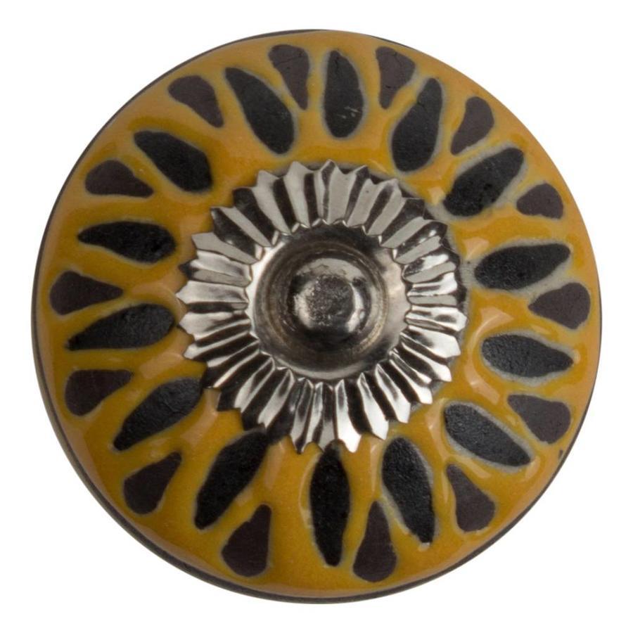 Meubelknop porselein reliëf deco CK5548 - geel zwart