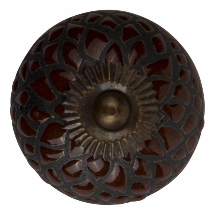 Meubelknop porselein reliëf deco CK5533 - bruin zwart