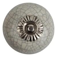 Porseleinen meubelknop wit gekrakeleerd - fijn