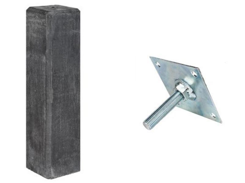 Tuindeco Betonpoer Recht Antraciet (145x145mm) + Stelplaat