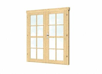 Vuren dubbele deur en kozijn dubbel glas DL8