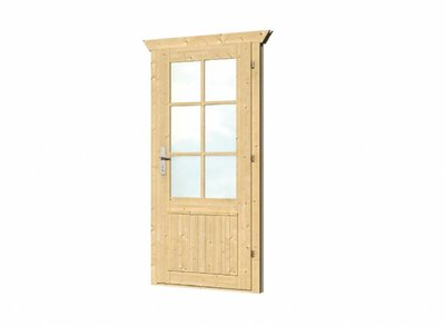 Vuren enkele deur met kozijn enkel glas D6