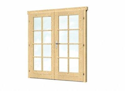 Vuren dubbele deur en kozijn enkel glas D2