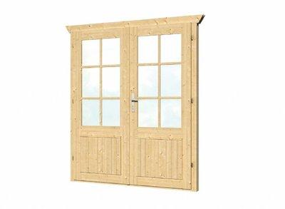 Vuren dubbele deur en kozijn enkel glas D3