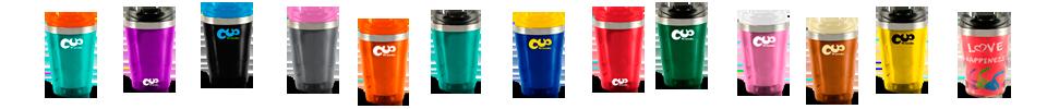Cup Trends Thermobecher individuell bedrucken - schwarz, orange, blau, grün, rot, pink, gelb, braun