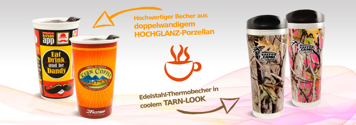 Thermobecher Porzellan 300 ml und Edelstahl mit Tarn-Look 400 ml