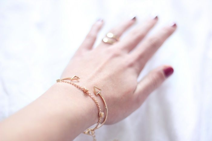 Minimalistic gold jewelery