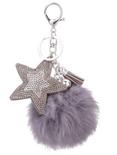 Keychain - FLuffy star grey