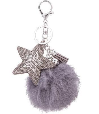 Keychain - FLuffy star grey