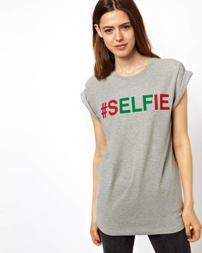 T-shirt met #selfie print